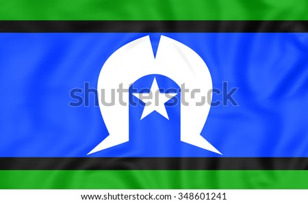3D Flag of Torres Strait Islanders. Close Up. - stock photo