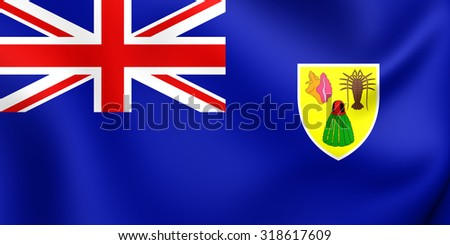 3D Flag of Turks and Caicos Islands. Close Up. - stock photo