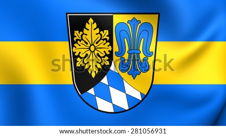 3D Flag of Unterallgau Kreis, Germany. Close Up.    - stock photo
