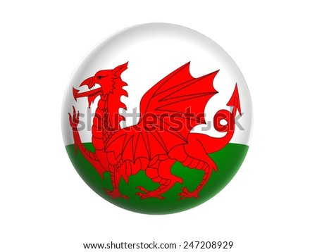 3D flag of Wales, sphere isolated on white background