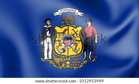 3D Flag of Wisconsin (1913-1981), USA. 3D Illustration.