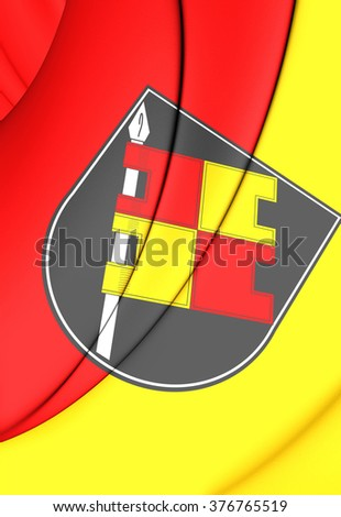3D Flag of Wurzburg (Bavaria), Germany. Close Up. - stock photo