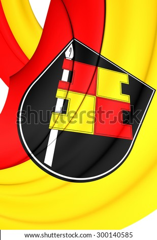 3D Flag of Wurzburg City, Germany. Close Up. - stock photo