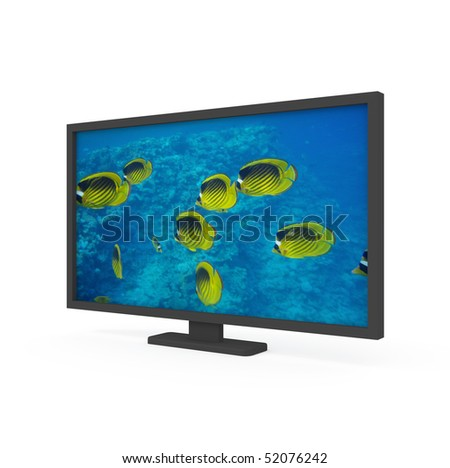 3d flat screen isolated on white - 3d illustration