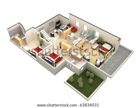 3D floor plan - stock photo