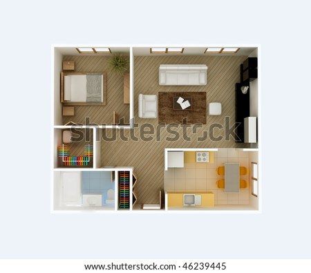 3D floor plan top view. Apartment interior aerial. Kitchen, Dining, Living Room, Bedroom, Walk in Closet, Hall, Bathroom. May be used for a graphic art, design or architectural illustration. - stock photo