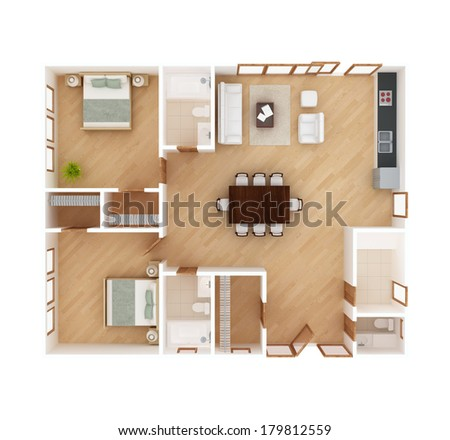 3D floor plan top view of a house isolated on white background. 2 Bedroom, 2 1/2 Bath. May be used for a graphic art, design or architectural illustration.  - stock photo