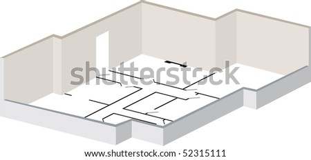 3d floorplan with exterior walls and layout marked as original plan - stock photo