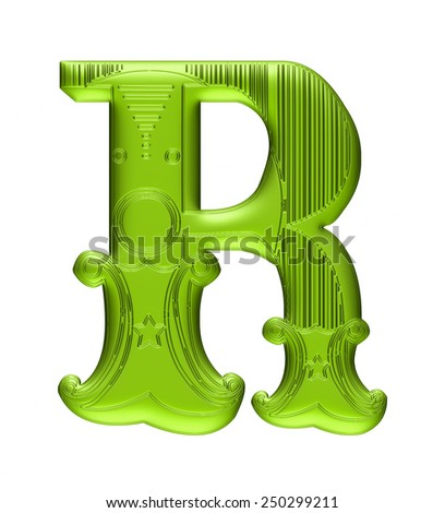 3D Floral alphabet R in green color on isolated white background. - stock photo