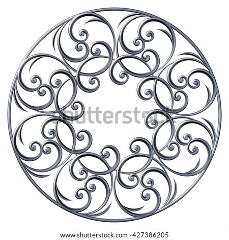 3d floral pattern round ornamental with curl and swirl. Vintage decorative elements - stock photo