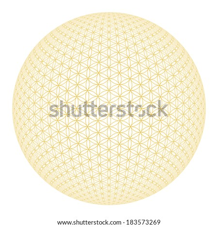 3D flower of life - gold on white background - stock photo