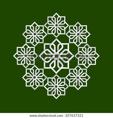 3d flower pattern in arabic style. Raster version - stock photo