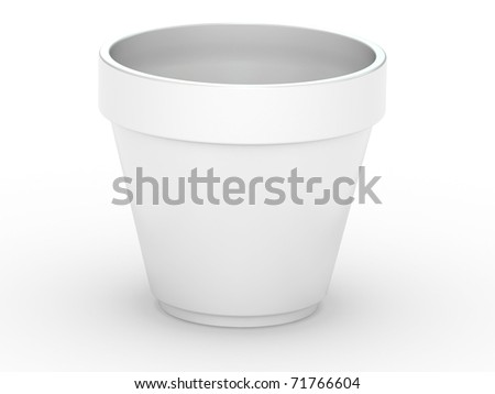 3D Flowerpot isolated on a white  background.