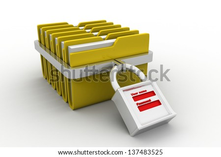 3D folder and lock. Data security concept. - stock photo