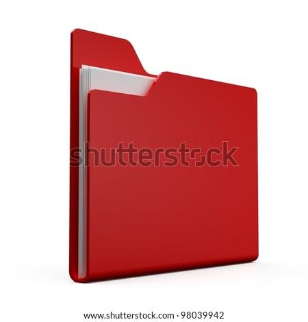 3D folder on a white ground - stock photo