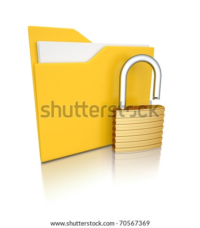 3d folder unlocked - stock photo