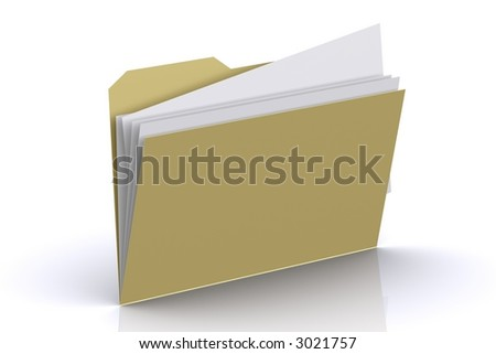 3d Folder with paper out - stock photo