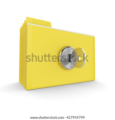 3d folders with lock isolated on white background. Safe files concept.
