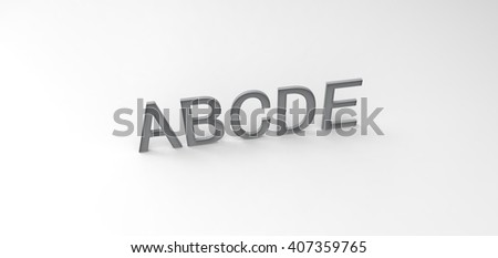 "3D font ""ABCDE"" in white background, computer generated images"