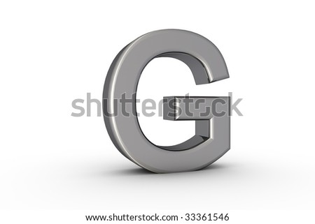 3D Font Alphabet Letter G in chrome texture on white Back Drop