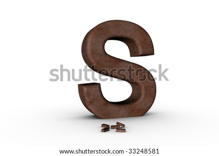 3D Font Alphabet Letter S in Brick texture on white Back Drop