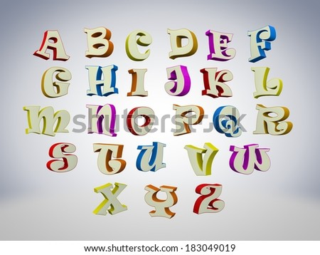 3D font, big colorful letters standing