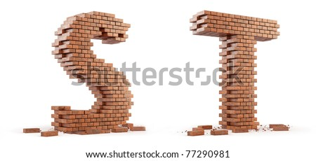 3D font build out of bricks based on the OpenSans font - stock photo