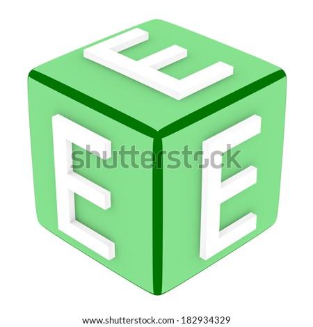 3d Font Cube Letter E - stock photo