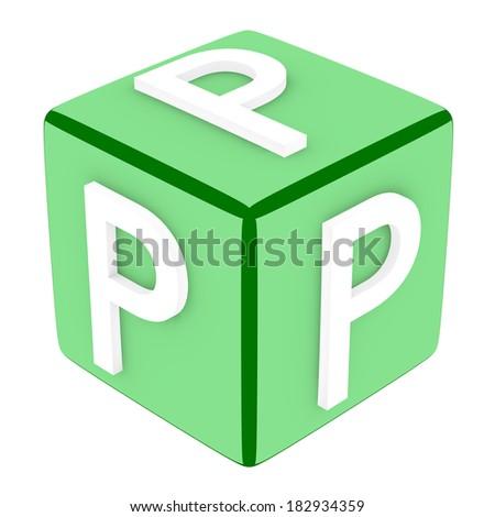 3d Font Cube Letter P - stock photo