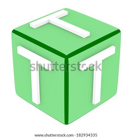 3d Font Cube Letter T - stock photo