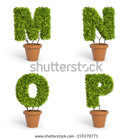 3D font made out of pot plants - stock photo