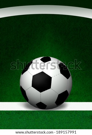 3D-Football on the green field background,leave space for text content