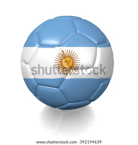 3D football soccer ball colored with the flag of Argentina isolated on a white background
