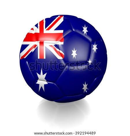 3D football soccer ball colored with the flag of Australia isolated on a white background