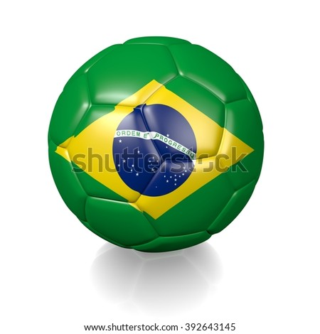 3D football soccer ball colored with the flag of Brazil isolated on a white background