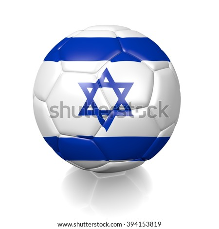 3D football soccer ball colored with the flag of Israel isolated on a white background - stock photo