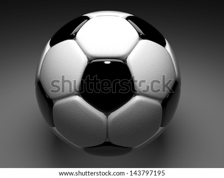 3d football, soccer ball glossiness and standard pattern black and white on floor
