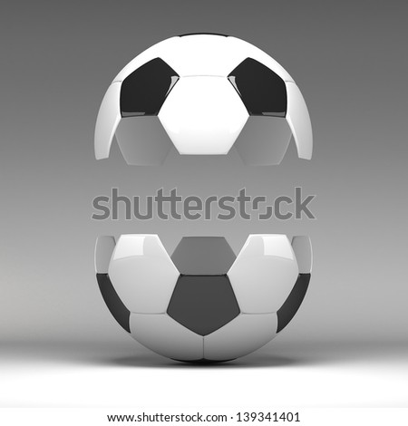 3d Football, Soccer Ball. Isolated on background - stock photo