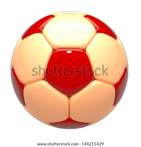 3d football, soccer ball standard pattern warm tone red, orange in isolated background with clipping paths included - stock photo