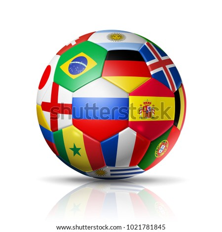 3D football soccer ball with team national flags. Russia 2018. Isolated on white