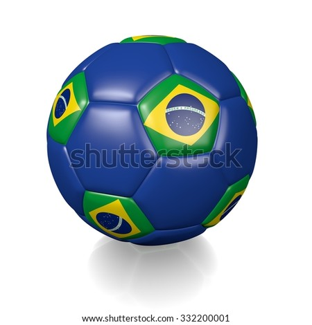 3D football soccer ball with the flag of Brazil, isolated on white background.