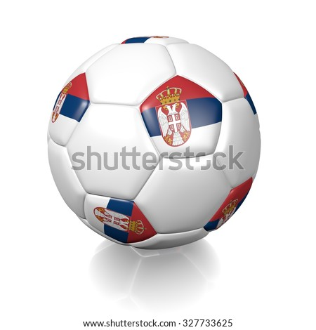 3D football soccer ball with the flag of Serbia, isolated on white background. - stock photo