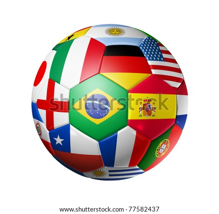 3D football soccer ball with world teams flags. Isolated on white with clipping path. Brazil 2014 - stock photo
