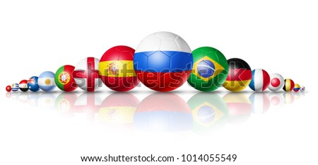 3D football soccer balls with national flags. Isolated on white