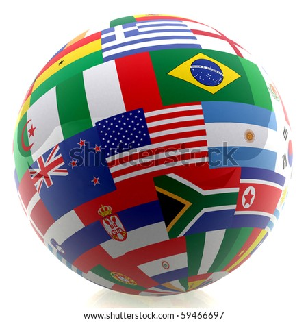 3D football with the flag of different countries - isolated over a white background - stock photo
