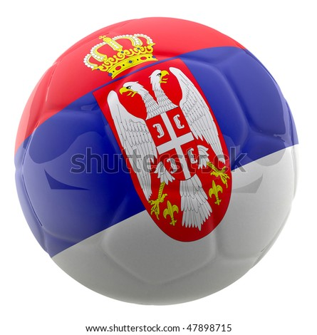 3D football with the flag of Serbia - isolated over a white background - stock photo