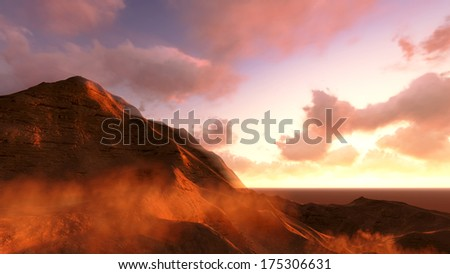 3D for the grand canyon national park in sunset and Mars - stock photo