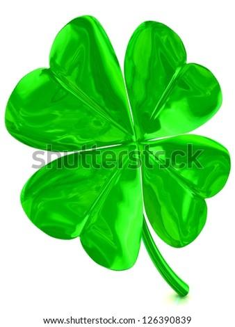 3D fourleaf clover - stock photo