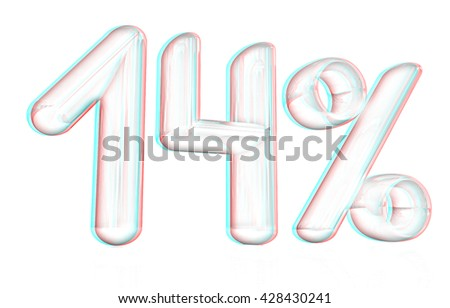 "3d ""14"" - fourteen percent on a white background. Pencil drawing. 3D illustration. Anaglyph. View with red/cyan glasses to see in 3D. - stock photo"
