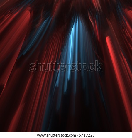 3D fractal abstract parted red velvet curtain with blue light - stock photo